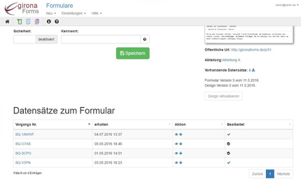 datenempfang Formularmanagement