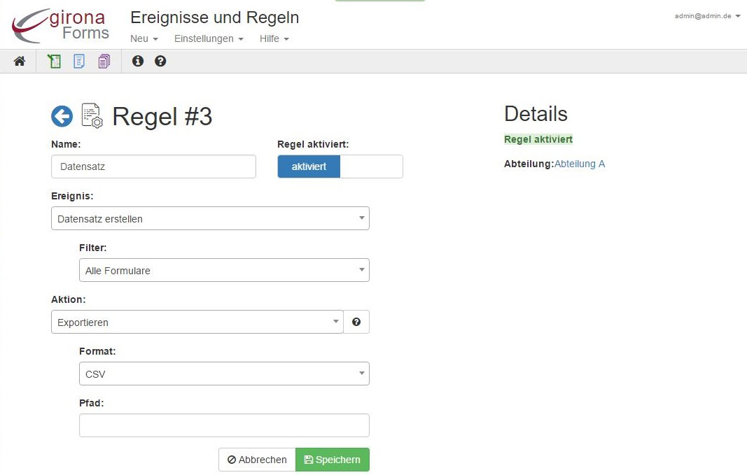 Regeln Formularmanagement Programm